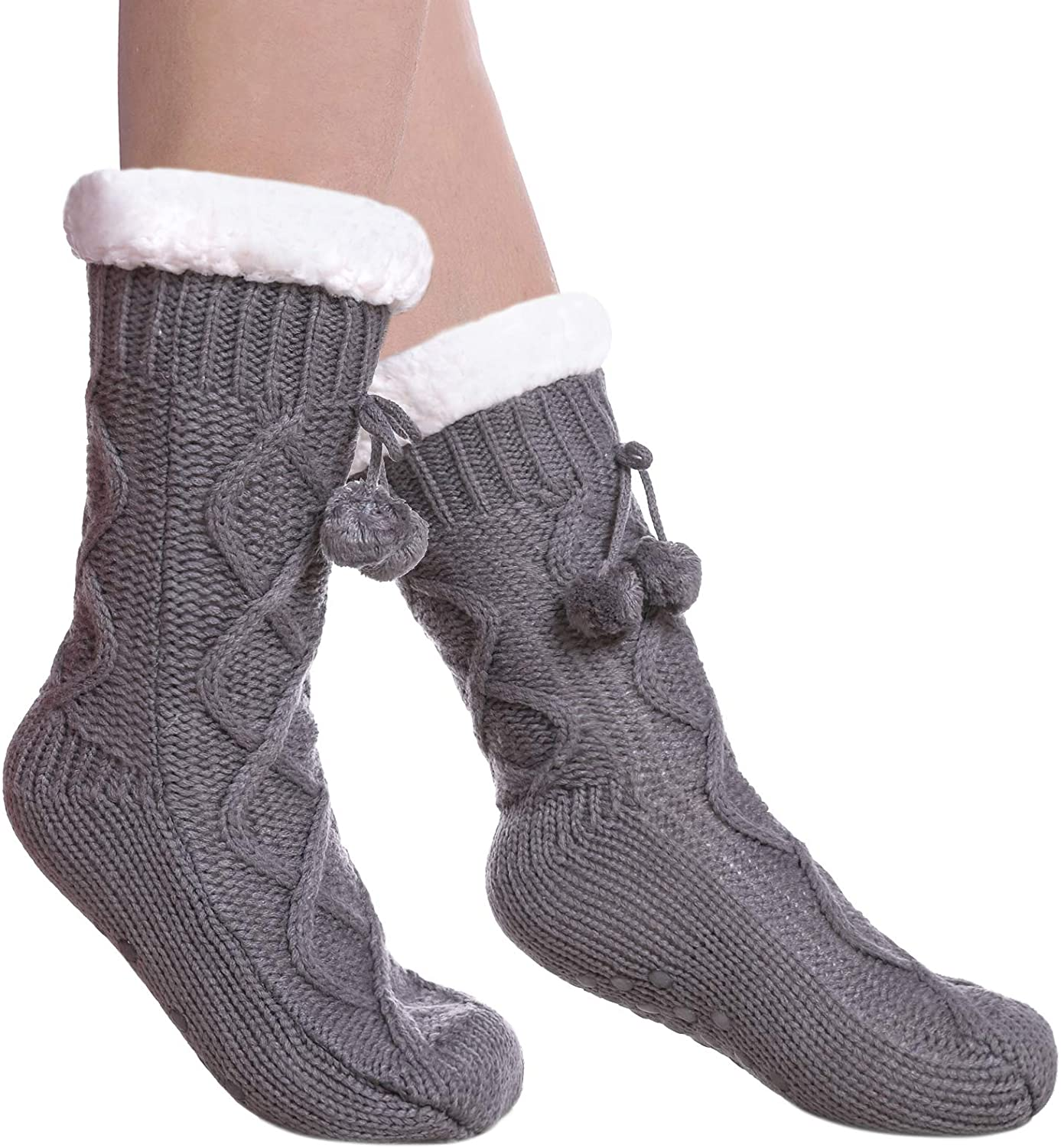 DYW Women's Fuzzy Slipper Socks Soft Winter Thermal Fleece Lining Cozy Non Slip Warm Socks