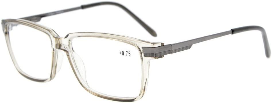 Eyekepper TR90 Frame Classic Spring Hinges Readers Stylish Crystal Clear Vision Reading Glasses Grey Frame +1.25