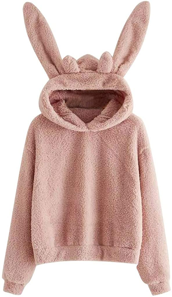 Gogoty Womens Sherpa Fleece Pullover Rabbit Bear Shape Hoodies Sweatshirt Long Sleeve Hoodie Pullover Tops Sweatshirt