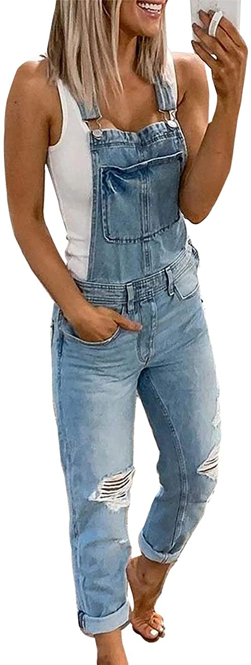 CASILY 2020 New Women's Fashion Denim Bib Overalls Baggy Adjustable Strap Rompers Jumpsuits for Woman