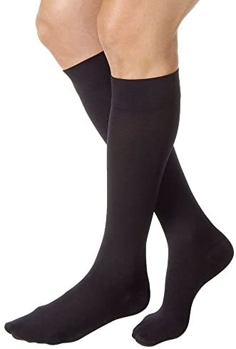 JOBST Relief 30-40 mmHg Compression Socks, Knee High, Closed Toe, Black, Large Full Calf