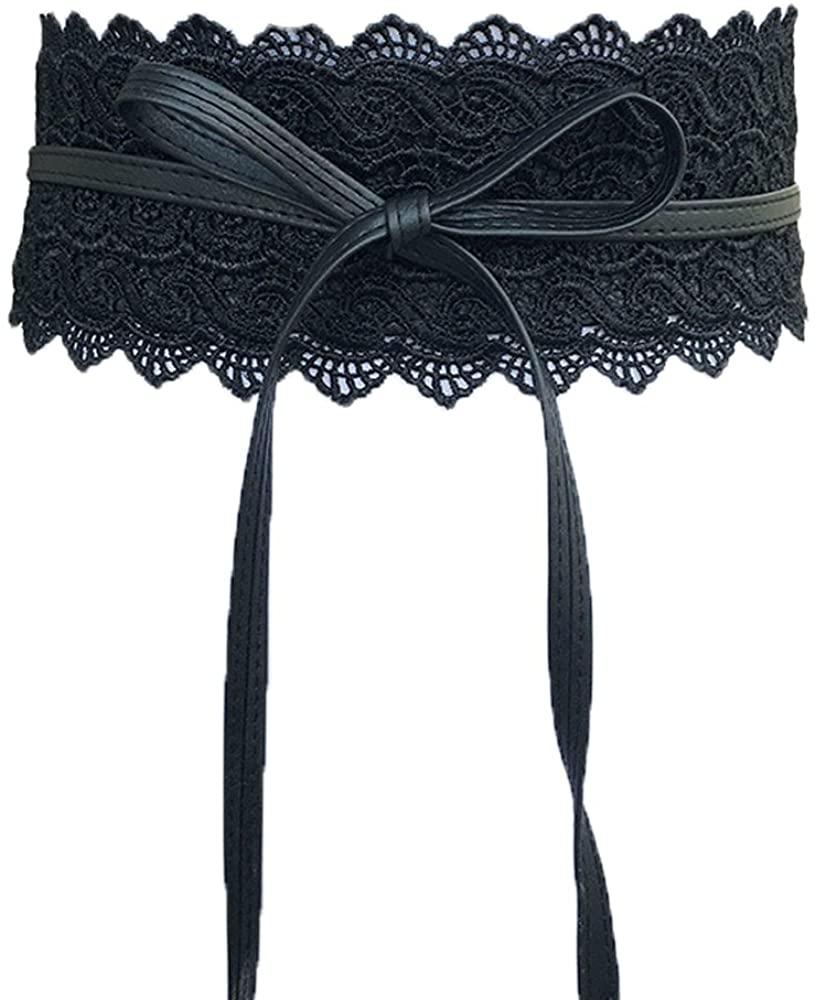 Women's Stretch Waist belt Crochet Lace Bow Tie Wrap Around Waist Band Boho Belt