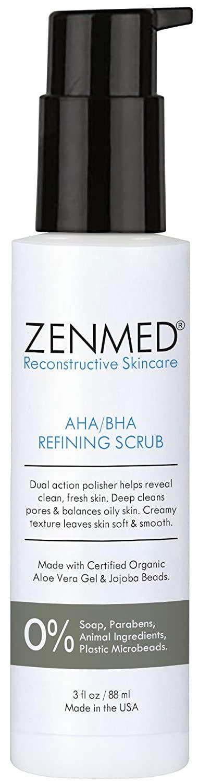 ZENMED AHA/BHA Refining Scrub - 3 oz. Dual Action Polisher Helps Reveal Clean Fresh Skin Deep Cleans Pores & Balances Oily Skin Creamy Texture Leaves Skin Soft