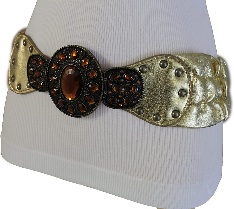 TFJ Women Elastic Ethnic Wide Belt Hip Waist Antique Metal Buckle M L Metallic Gold