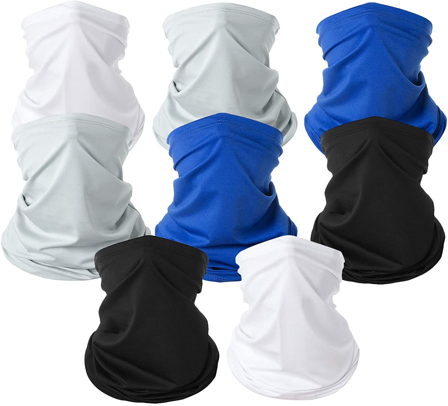8 Pack Neck Gaiter Face Mask Scarf for Men Women Sun Protection Face Cover Balaclavas Bandana for Sun Hot Summer Cycling Hiking Fishing (Black Blue Grey White)