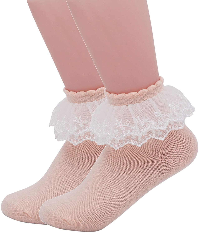 YASIDI Lace Socks,Double Deck Lace Frilly Women Ankle Socks Cotton Socks Princess Socks