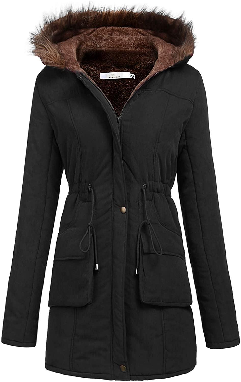 Meaneor Womens Hooded Warm Winter Faux Fur Lined Parkas Long Coats, Black, M