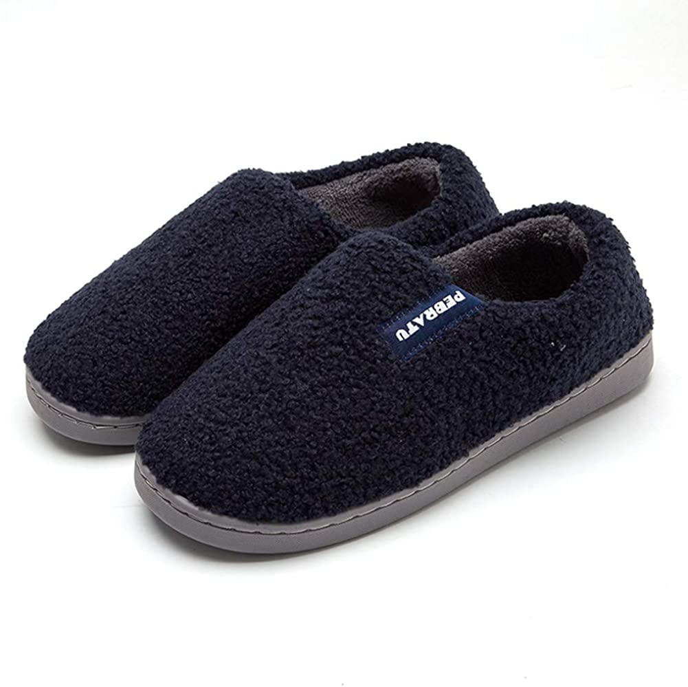 HRFEER Men's Comfy Fuzzy Knit Cotton Memory Foam House Shoes Women Slippers Indoor, Outdoor Sole