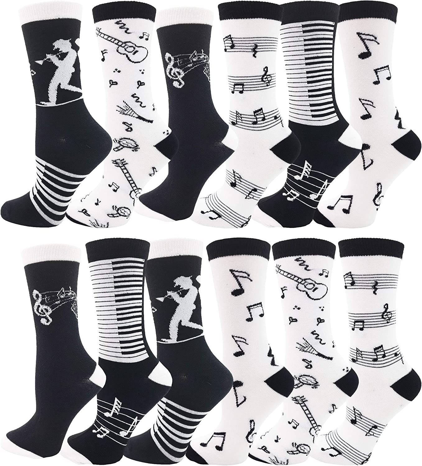 Womens Novelty Socks, 12 Pairs, Soft & Comfortable, Cute Colorful Patterned Sock Bulk Pack