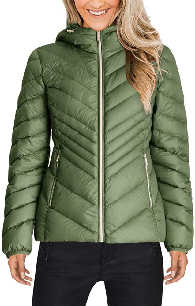 Yskkt Womens Hooded Packable Down Jacket Ultra Light Weight Short Puffer Coats with Zipper Pockets