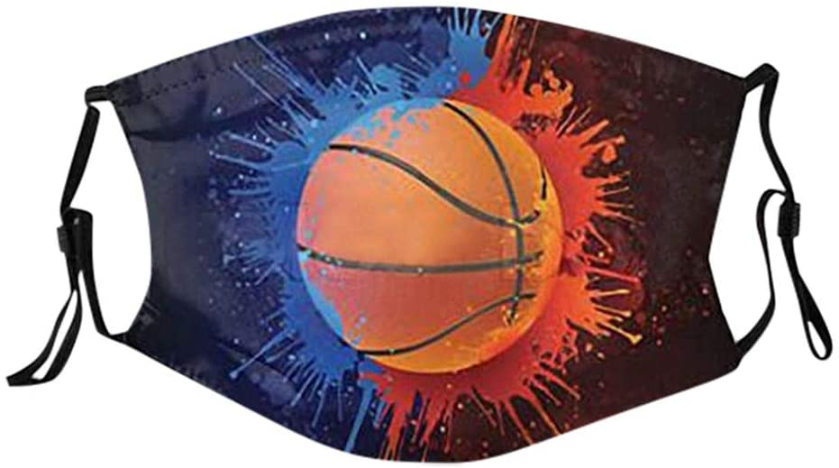 Cool Men Women Reuse Face_mask Face Coverings with Filter Pocket, Basketball Fire USA Flag Dream Washable Cotton Dust Protective Adjustable, Breathable (1pc+2filters)