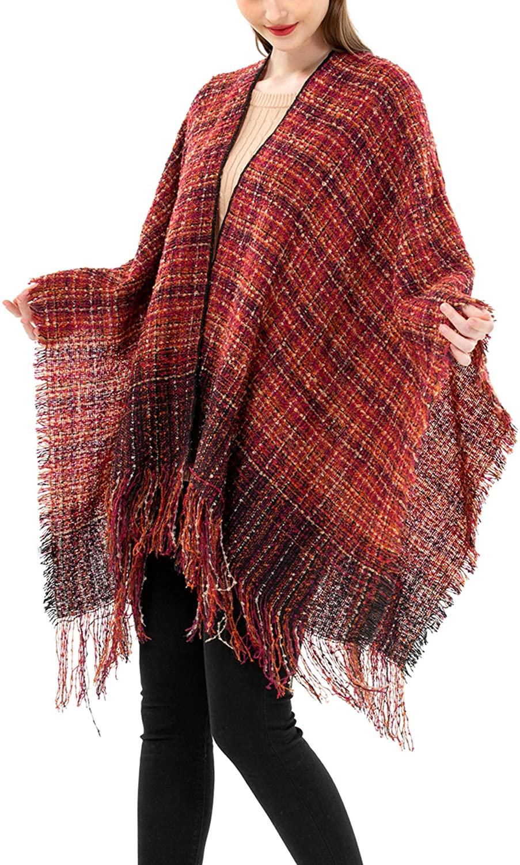 Women's Open Front Wrap Shawl Boucle Cardigan Sweater Tassel Poncho Cape Soft Pashmina Plaid Ruana