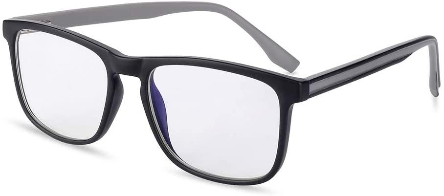 Gudzws Blue Light Blocking Reading Glasses Readers Spring Hinges Sturdy Retro Style Rectangle TR Frame Unisex Black 0.00