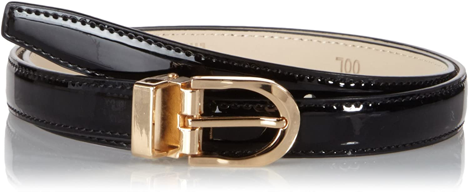 Anthoni Crown Leather Ladies Belt 0,8 Width Black Shiny with Gold Metallic Buckle 34-44/4300l