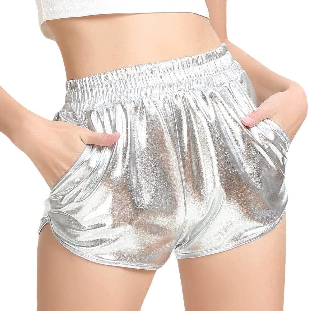 Fashion Women High Waist Yoga Sport Pants Shorts Shiny Metallic Pants Leggings Trousers for Women