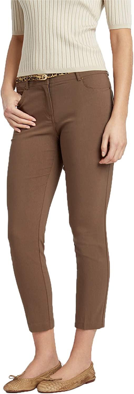 89th + Madison Women's Five Pocket Millennium Stretch Ankle Pants Mocha