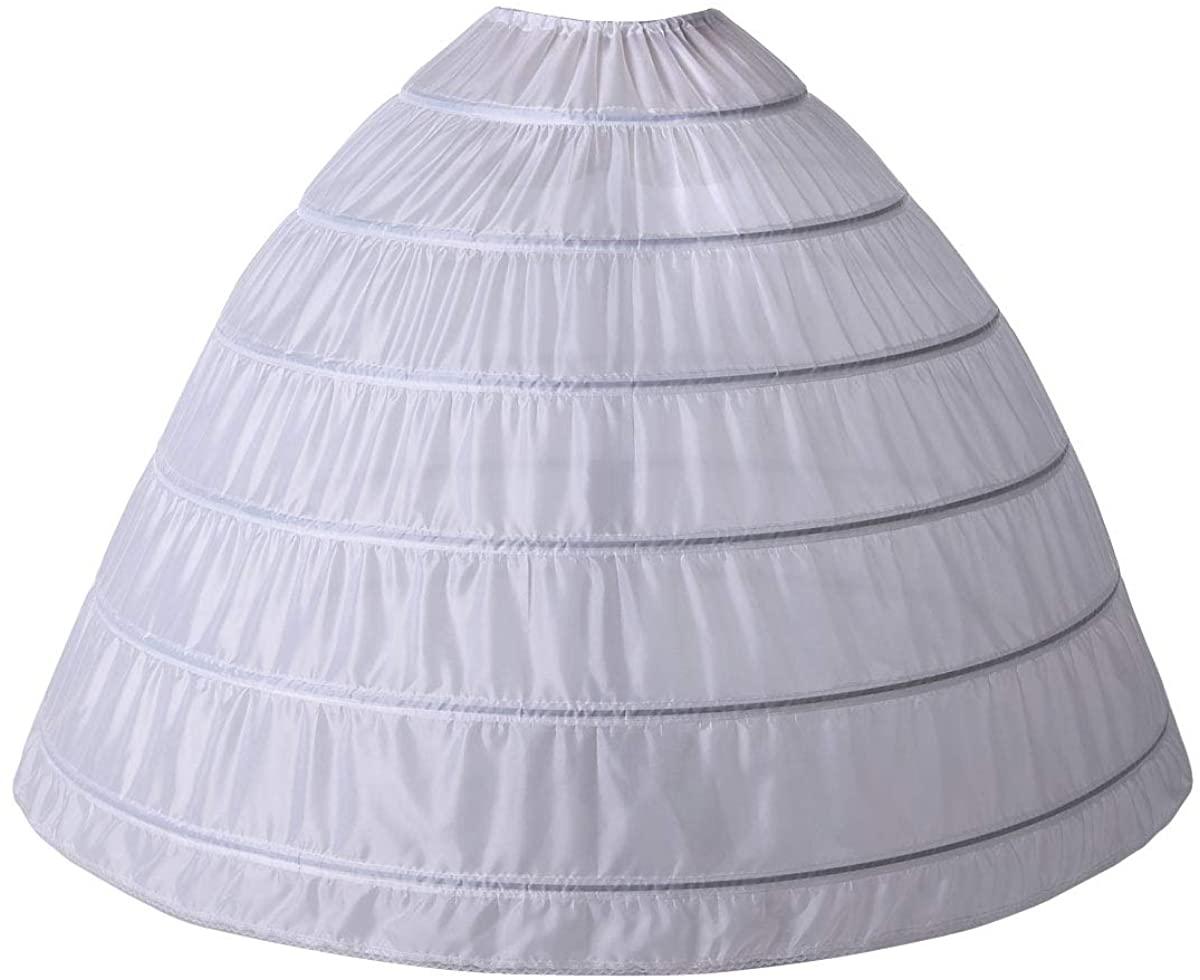 YLMTOP Women's Full Shape 6 Hoop Petticoat Underskirt Slip Crinoline for Wedding Dress Ball Gown YPT306-WH White
