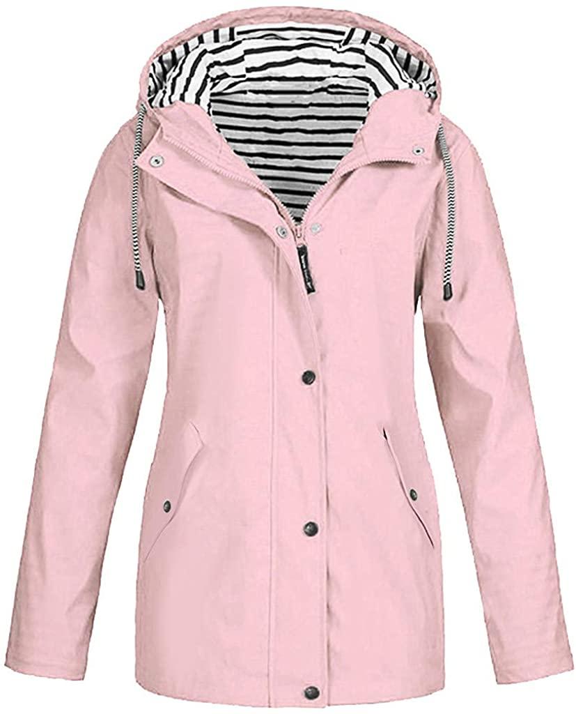 ANOKA Rain Jacket Women Raincoat Waterproof Winderproof Outdoor Lightweight Packable Winter Hooded Outwear Pink 5XL