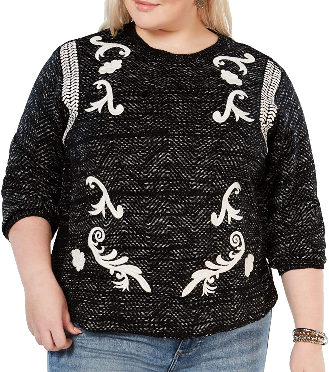 Lucky Brand Womens Embroidered Pullover Sweater