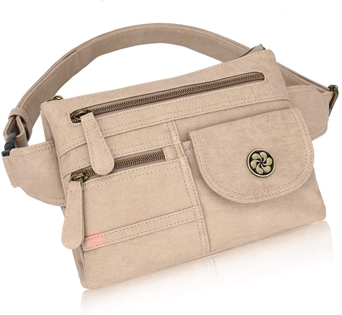 Angel Barcelo Leather Waist Pack Fanny Pack Hip Purse Travel Hiking Bum Bag Belt Bag for Women Ladies