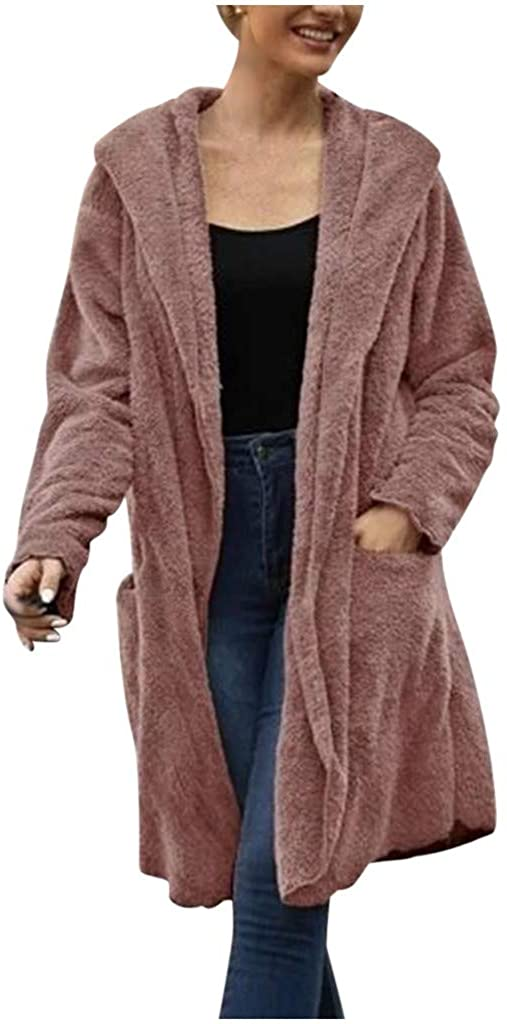Women's Casual Warm Fuzzy Long Sleeve Hoodie Pocket Coat Jacket Solid Outerwear Tops