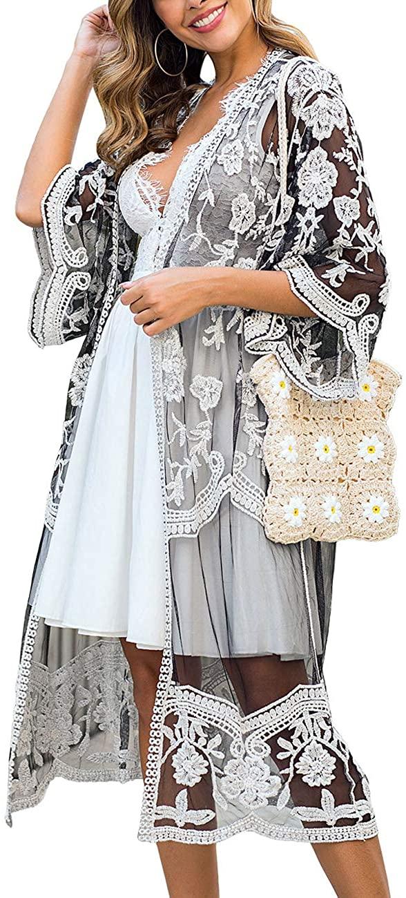 Women's Lace Kimono Floral Crochet Sheer Beach Cover Ups Long Open Swimsuit Lace Cardigan