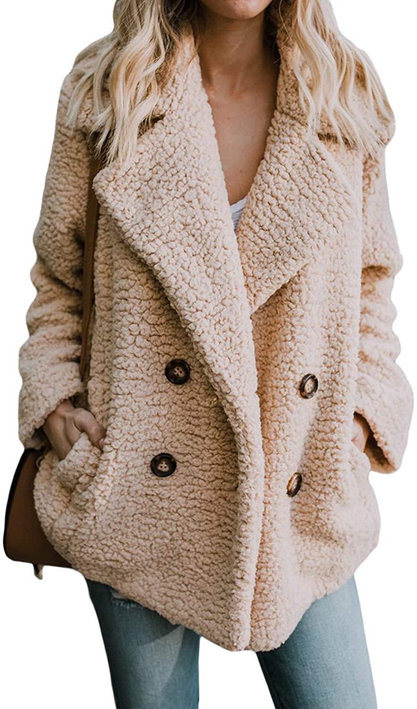 Malaven Womens Ladies Winter Fall Oversized Warm Cozy Teddy Bear Shearling Fluffy Fuzzy Fleece Outerwear Open Front Sweater Jacket Cardigan Coats Khaki