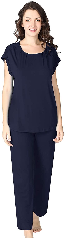 NEIWAI Pajamas Set Long Pants Cap Sleeve Pjs Bamboo Viscose Sleepwear for Women