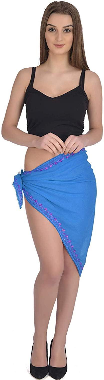 SKAVIJ Women Summer Rayon Soft Wrap Beach Swimwear Short Cover Up Wrap Solid Patterns