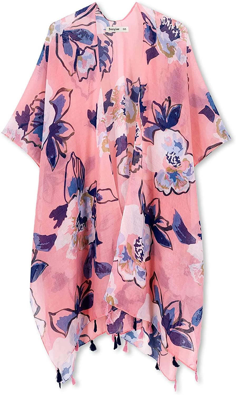 Breezy Lane Women's Beach Coverup Swimsuit Kimono Cardigan with Tie Dye Print