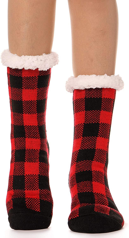 Womens Slipper Socks Fuzzy Fleece lined Soft Warm Fluffy Stockings Winter Christmas Socks