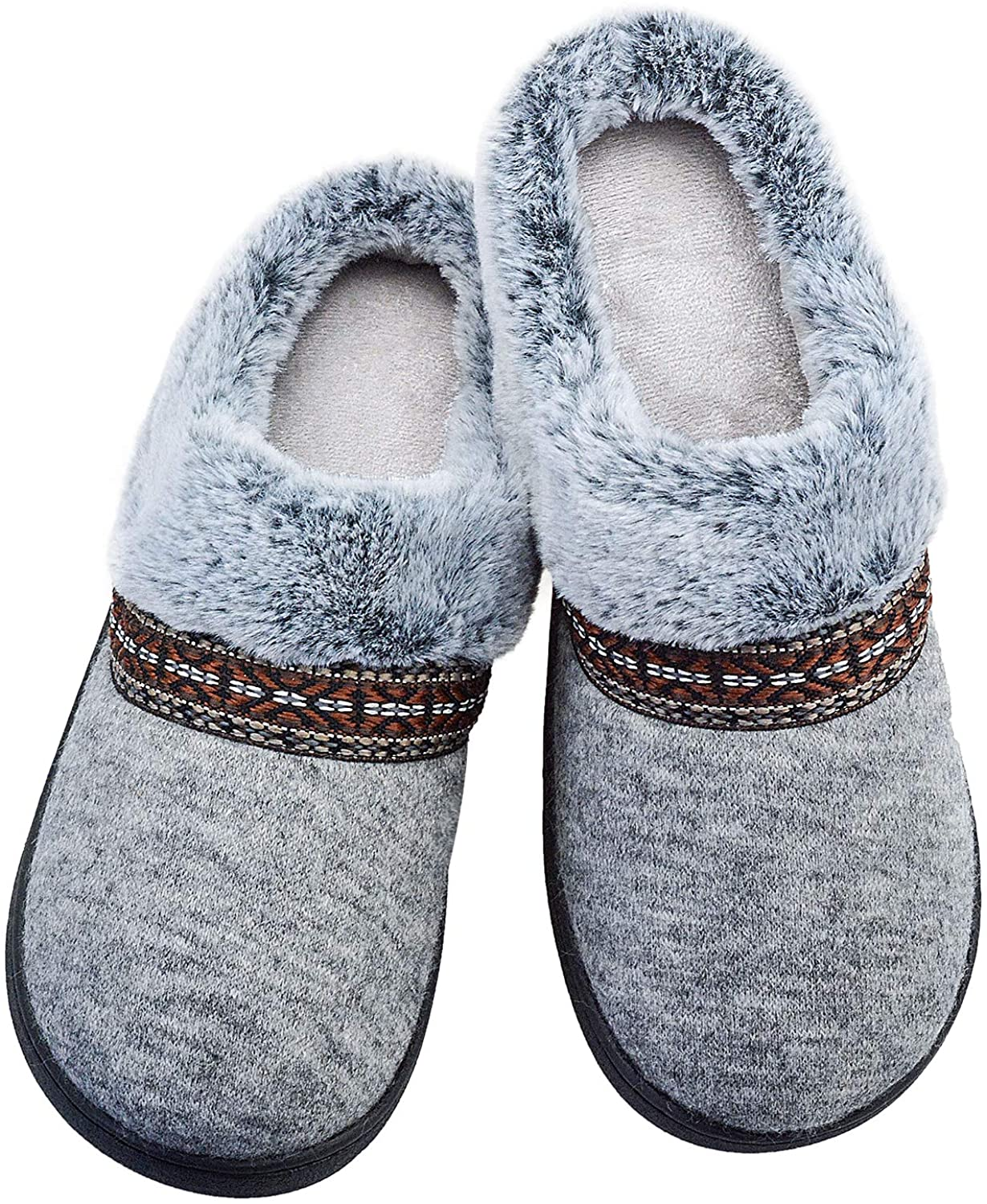 Fibure Slippers for Women Slide Slip-On Fur Bedroom Shoes Warm Fussy Anti Slip Memory Foam Comfort Cozy Casual Indoor Outdoor House Shoes Grey