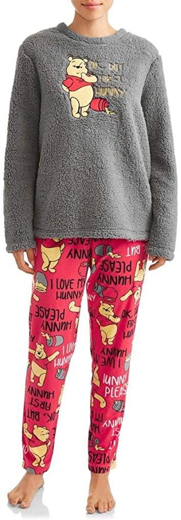 Disney Women's Winnie The Pooh But First Hunny Plush Fleece 2 Piece Pajama Sleep Set