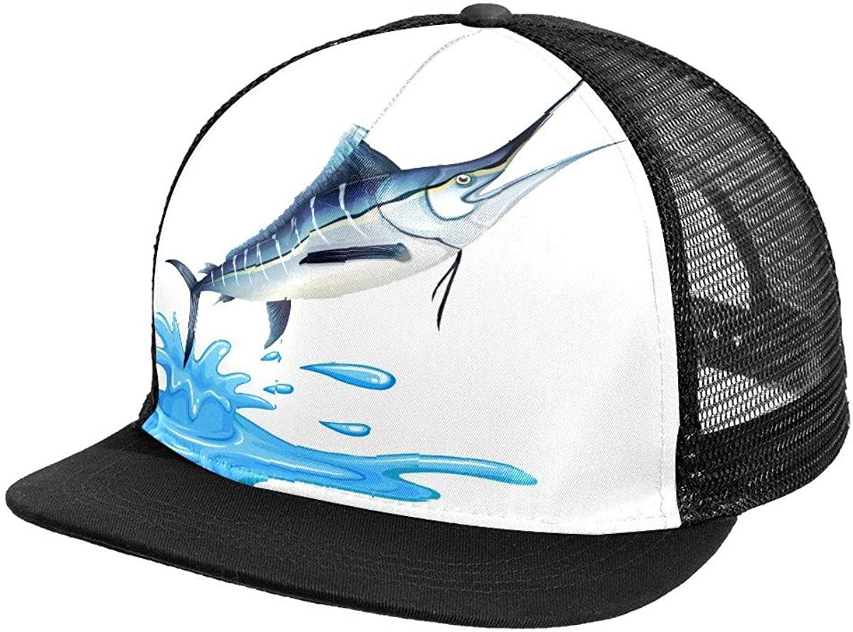 Jumping Fish Mesh Baseball Cap Black Trucker Hat for Men Women Summer Headgear Adjustable Mens Snap Backs Sun Hats Hip Hop Flat Brim Brimmed caps Sports Outdoors One Size Fits All
