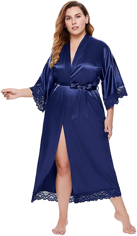BABEYOND Satin Kimono Robe Plus Size Long Wedding Lace Robe Loose Cardigan Sleepwear