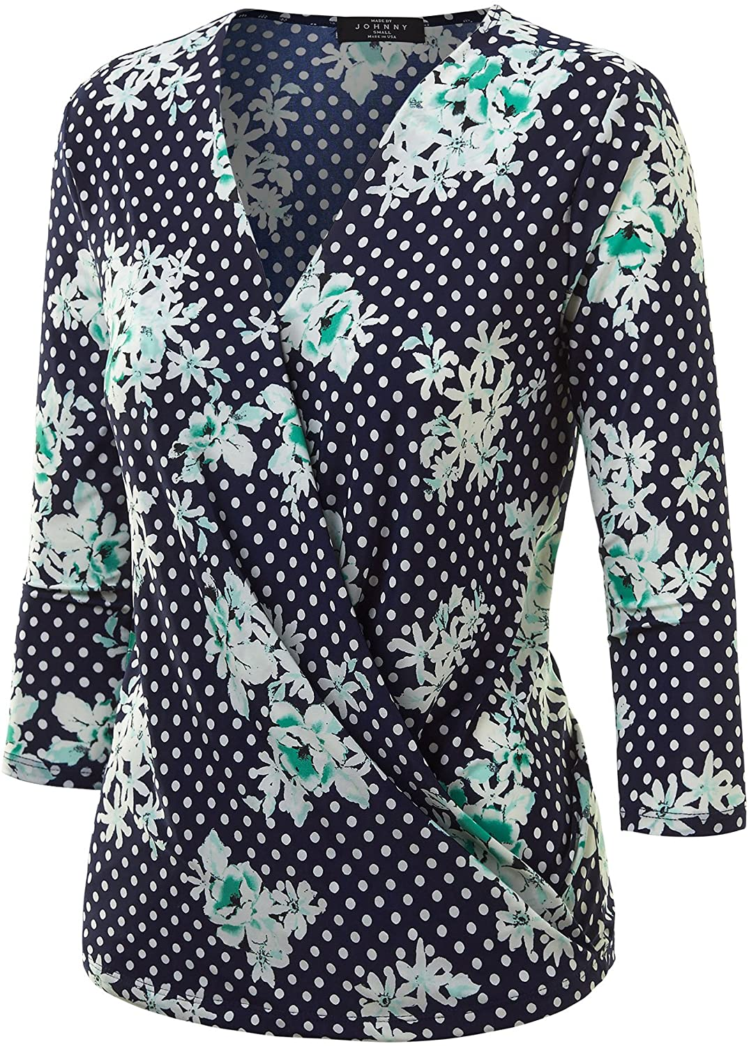 Made By Johnny MBJ Womens Long Sleeve Wrap Front Deep V-Neck Hoodie Shirt