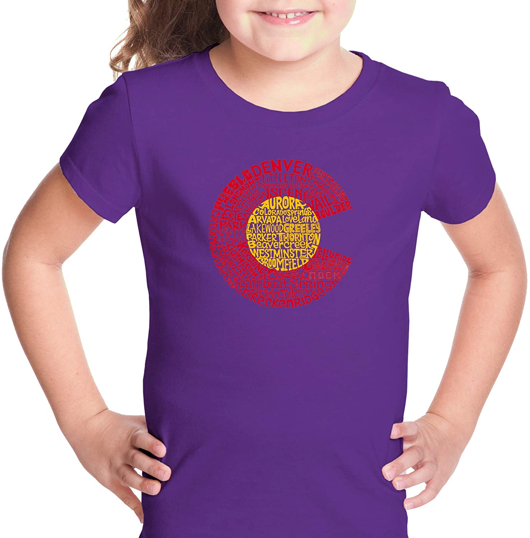 LA Pop Art Girl's Word Art T-Shirt - Colorado