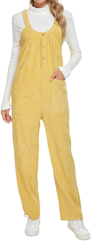 Unifizz Women's Fashion Overalls Baggy Wide Leg Jumpsuit Solid Color Corduroy Long Pants Casual Rompers