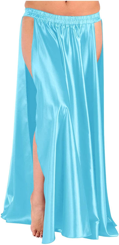 themilestocks 36 Long Satin Panel Skirt 2 Side Slit Belly Dance Tribal Swing Gypsy