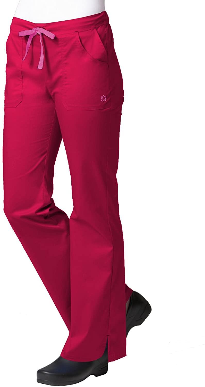 Maevn Women's Multi-Pocket Flare Pants(Crimson, X-Large Petite)