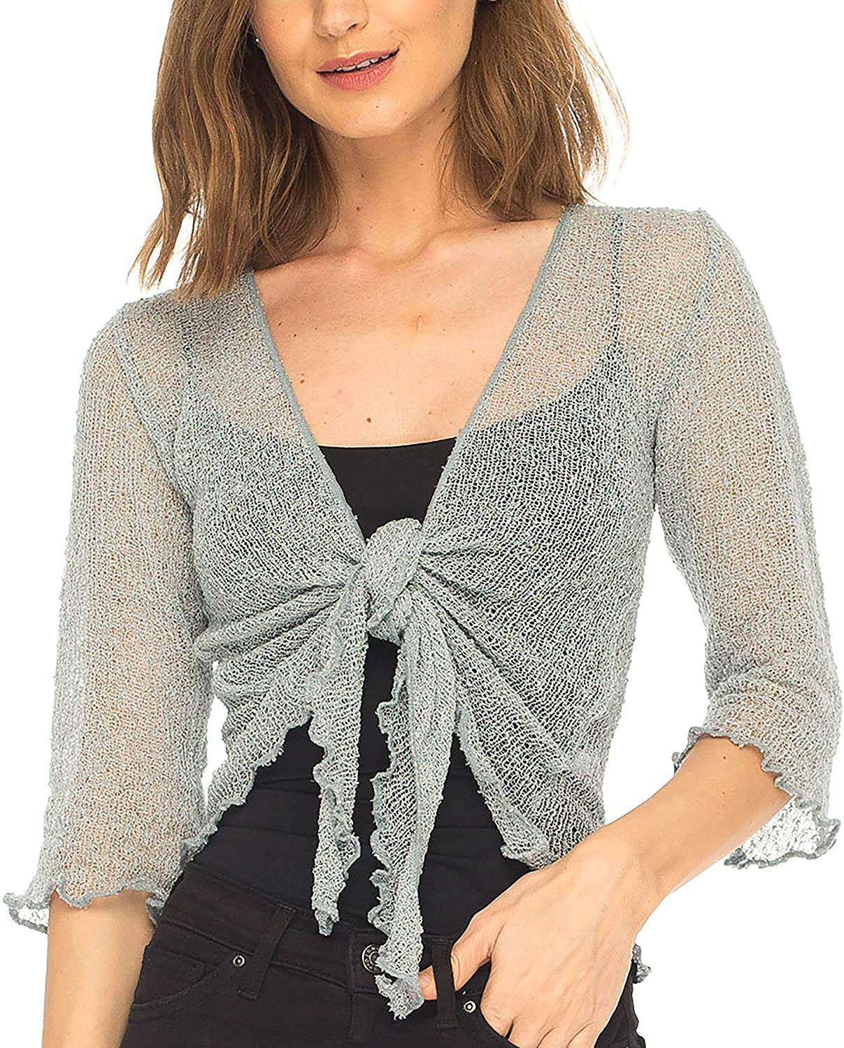 SHU-SHI Womens Sheer Shrug Tie Top Open Front Cardigan Lightweight Knit