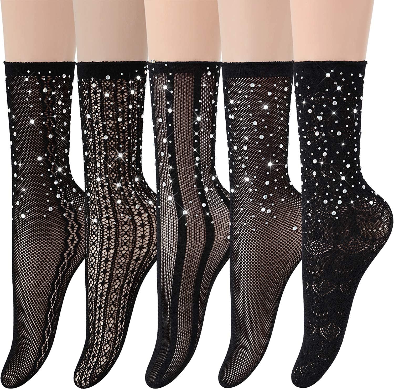 Women Rhinestone Fishnets Ankle Socks - Sparkle Sheer Sexy Dress Socks