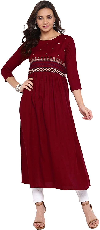 Janasya Indian Tunic Tops Rayon Kurti for Women