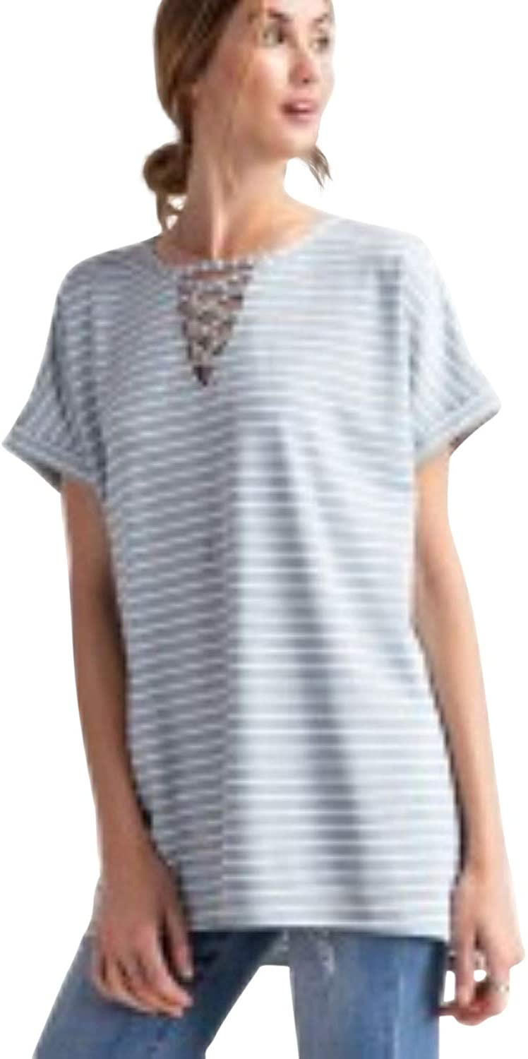 Easel Lace Up Front Striped Pattern Knit Short Sleeve Loose Fit Top-Blue Grey/White (Large)