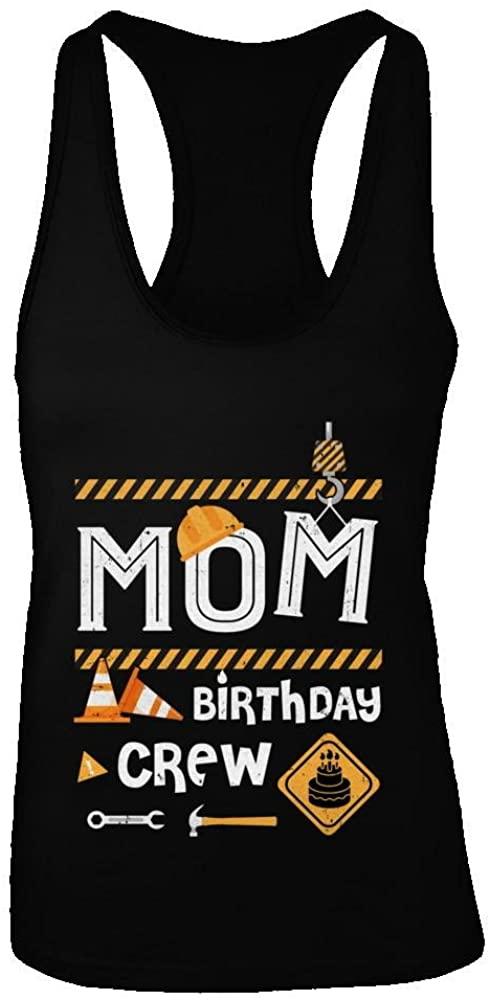 TeesNow Women's Mom Birthday Crew Construction Birthday Party Shirt Racerback Tank Top