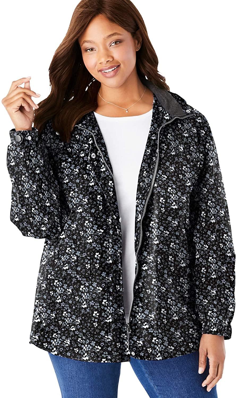 Woman Within Women's Plus Size Fleece-Lined Taslon Jacket