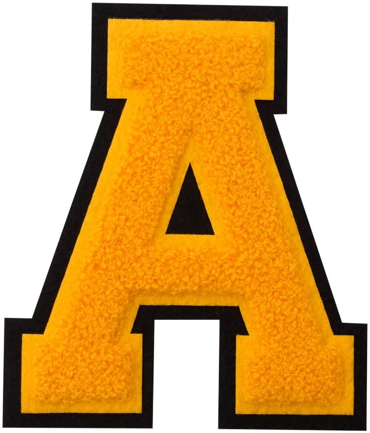 A - Gold on Black - 4 1/2 Inch Heat Seal/Sew On Chenille Varsity Letter