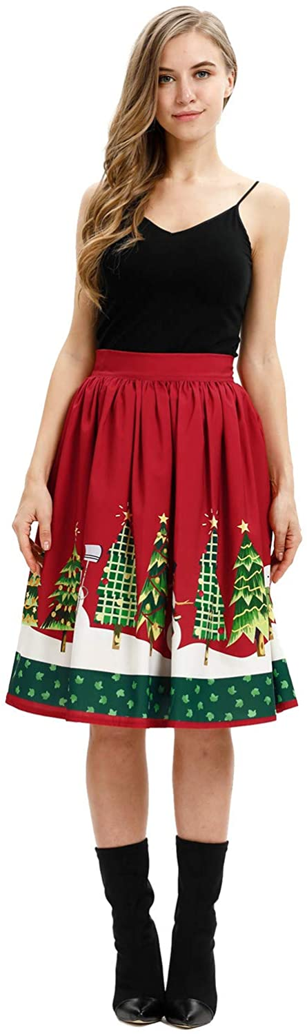 Shin Fashion Womens Christmas Midi Skirt High Waisted Ealsitc Knee Length Pleated Party Skirts
