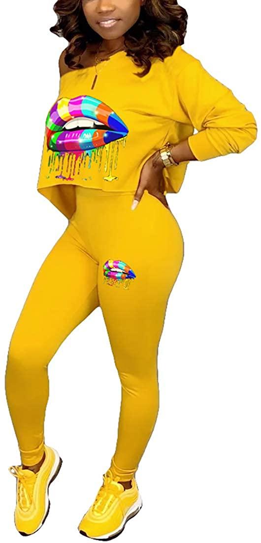 Nimsruc Womens Sexy Club 2 Piece Outfits Long Sleeve Hot 2 Pcs Skew Neck Pants Set