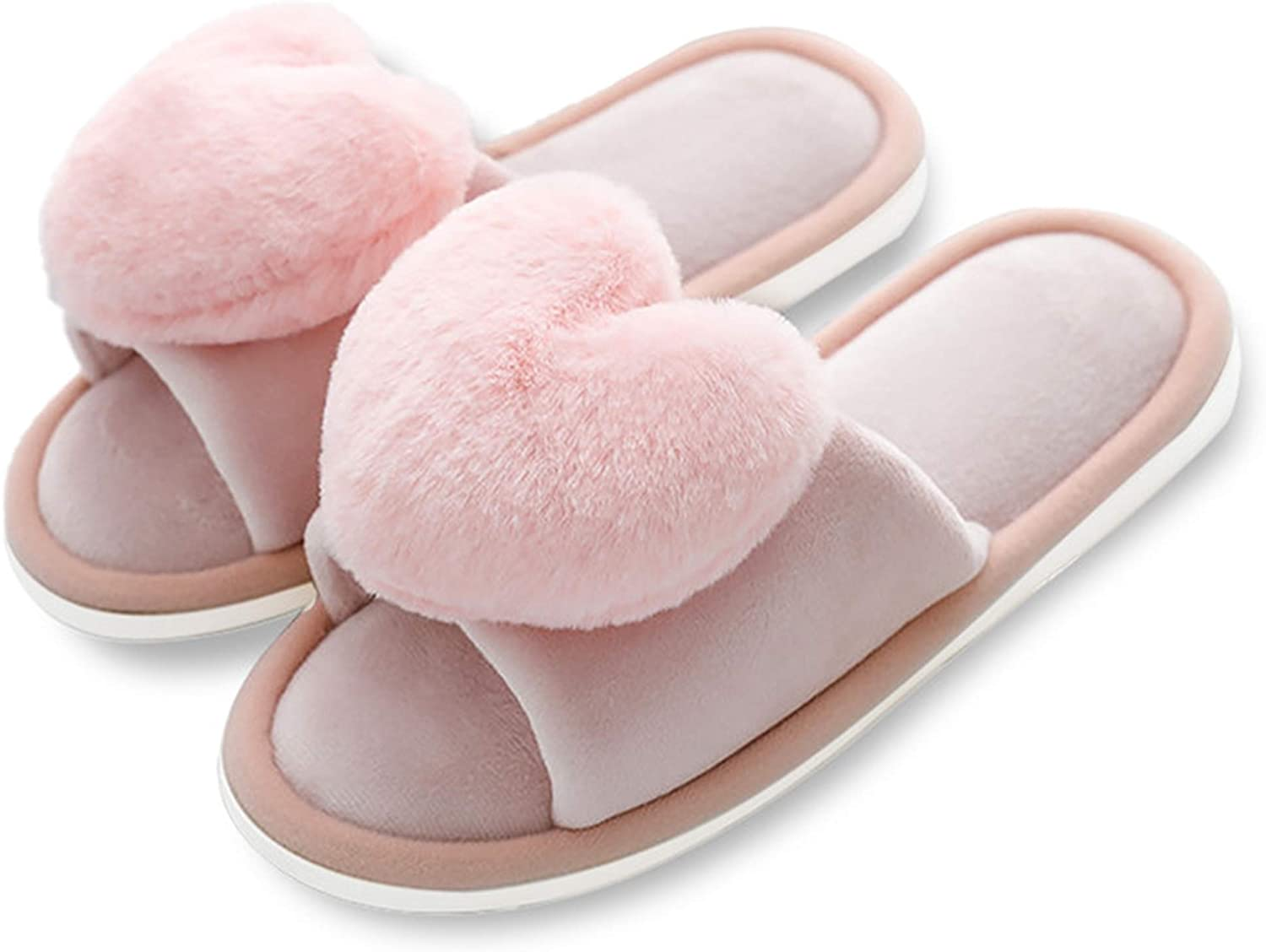CozyWay Plush Slippers for Women Soft Furry Open Toe House Shoes Outdoor Indoor Faux Rabbit Fur Warm Memory Foam Padding Slip